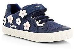 Geox Girl's Kilwi Floral Appliqué Chambray Leather-Trim Low-Top Sneakers