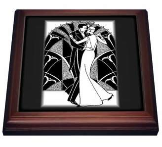 3dRose Art Deco Dancing Couple - Trivet with Ceramic Tile, 8 by 8-inch