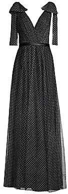 Basix Black Label Women's Swiss Dot Bow Detail Chiffon Gown