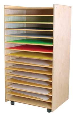 Wood Designs Puzzle and Paper 14 Compartment Cubby with Casters