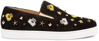 Christian Louboutin Mister Academy embellished slip-on suede trainers