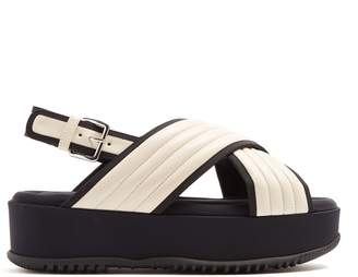Marni Quilted-leather cross-strap flatform sandals
