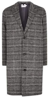 Topman Mens Mid Grey Grey Check Oversized Overcoat