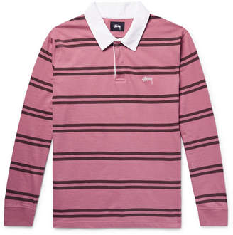 Stussy Striped Cotton-Jersey Polo Shirt - Pink