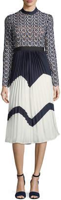 Self-Portrait Self Portrait Sweetheart Long-Sleeve Crochet-Lace Midi Dress