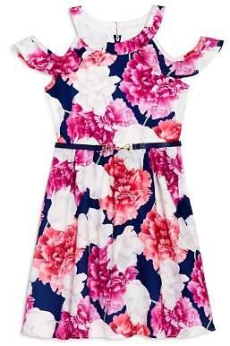 Us Angels Girls' Floral Print Cold-Shoulder Dress - Little Kid