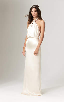 Savannah Miller Ruby Silk Twisted Halter Neck Backless Gown With Train
