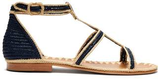 Carrie Forbes Tama Woven Raffia Sandals - Womens - Cream Navy