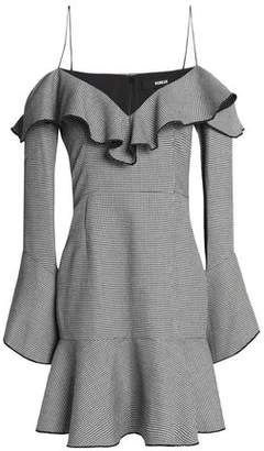 Nicholas Cold-Shoulder Ruffled Houndstooth Woven Mini Dress