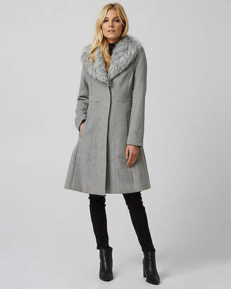 Le Château Wool Blend Faux Fur Collar Fit & Flare Coat