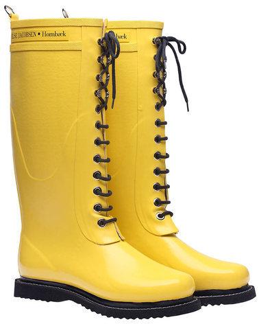 Ilse Jacobsen Hornbaek Lace Up Rainboot Tall Yellow