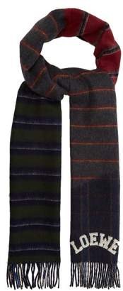 Loewe Varsity Striped Wool Blend Scarf - Mens - Navy Multi