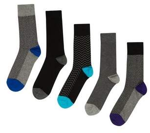 Burton Mens 5 Pack Multi Coloured Spot Print Socks