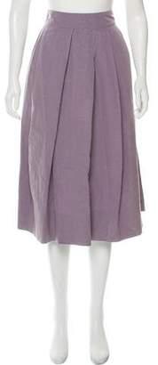 Dries Van Noten Linen and Silk Pleated Skirt