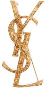 Saint Laurent Crocodile Effect Brooch - Womens - Gold