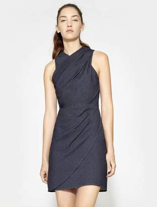 Halston SLEEVELESS WRAPPED NECK FITTED DRAPE DRESS