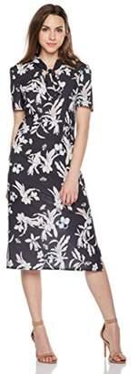 Suite Alice Tie Neck V Cut Short Sleeve Print Dress Floral Print