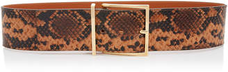 MAISON BOINET Python Printed Wide Leather Waist Belt Size: 70 cm