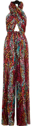 Matthew Williamson Akita Printed Silk-chiffon Halterneck Jumpsuit - Magenta