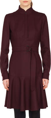 Akris Punto Long-Sleeve Stand-Collar Flannel Wool Dress w/ Bell-Shape Skirt