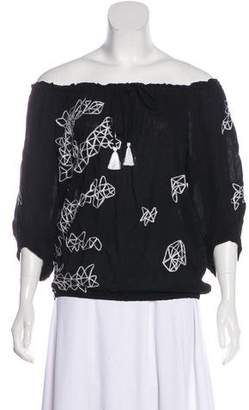 Poupette St Barth Off-The-Shoulder Embroidered Blouse w/ Tags