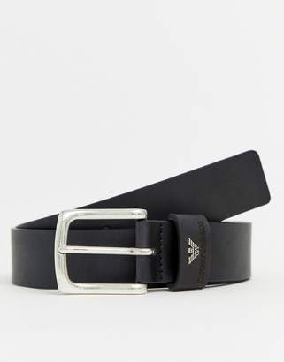 Emporio Armani leather logo keeper buckle belt in black