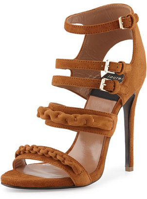 Laurence Dacade Kimy Suede Chain Strappy Sandal, Camel $1,295 thestylecure.com