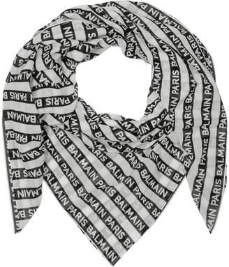 Balmain Black and White Signature Printed Cotton Scarf