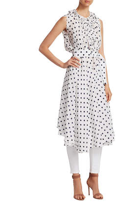 Balenciaga Silk Polka-Dot Midi Dress