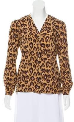 Tory Burch Animal Printed Silk Blouse
