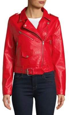 Bagatelle Belted Faux Leather Moto Jacket