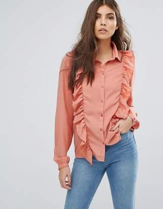 Vila Ruffle Front Shirt
