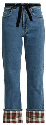 Isa Arfen Tartan And Velvet Trimmed Straight Leg Jeans - Womens - Denim Multi