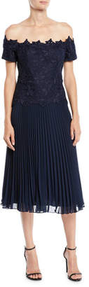 Rickie Freeman For Teri Jon Off-the-Shoulder Lace Dress w/ Accordion Skirt