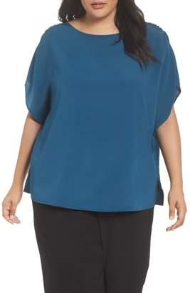 Sejour Shirred Shoulder Crinkle Top