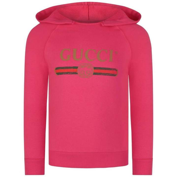 Buy GUCCIFuchsia Logo Hooded Sweater!