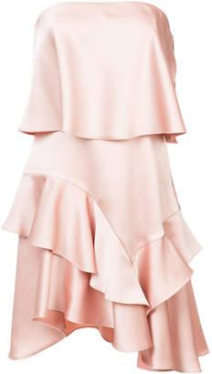 Halston layered frill trim asymmetric hem dress