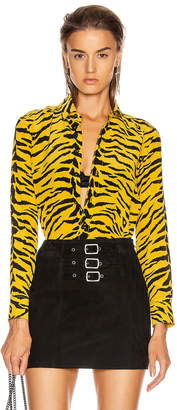 Saint Laurent Zebra Collared Classic Shirt in Yellow & Black | FWRD