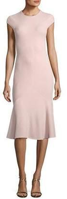 Narciso Rodriguez Cap-Sleeve Flounce Godet-Hem Dress