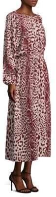 Robert Rodriguez Leopard-Print Silk Midi Dress