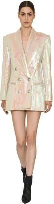 Balmain Iridescnet Sequined Mini Blazer Dress