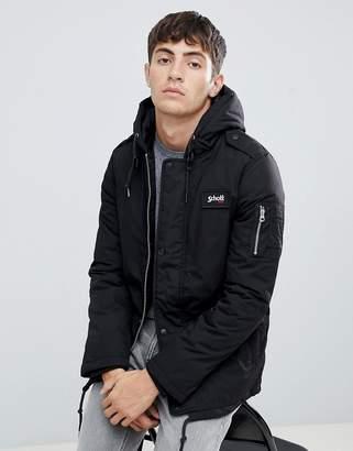 Schott Dubon insulated hooded parka jacket slim fit in black