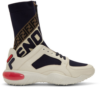 Fendi White and Navy Mania Sock Sneakers