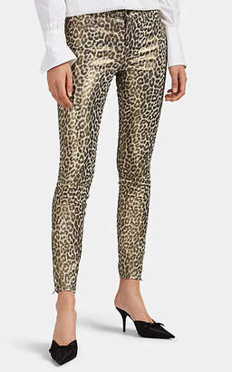 J Brand Women's Metallic-Jaguar-Print Leather Skinny Jeans