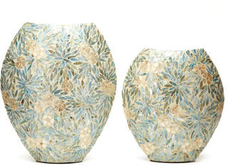 Twos Company Two's Company Palawan Flower Set of 2 Decorative Mother of Pearl Lacquered Vases