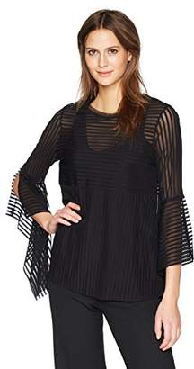 BCBGMAXAZRIA Women's Trishna Sheer Stripe Top