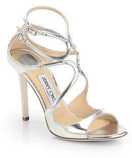 Jimmy Choo Women's Lang Strappy Mirror Leather Sandals