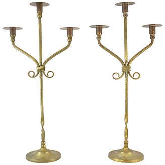 One Kings Lane Vintage Antique Twisted Brass Candelabra - Set of 2