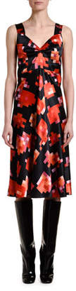 Marni Pixel-Print Sweetheart-Neck Dress