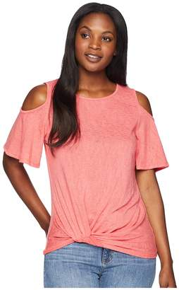 Bobeau B Collection by Alison Side Knot Cold Shoulder Women's Clothing